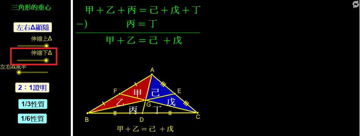 點選「伸縮下△」,說明甲+乙=己+戊。