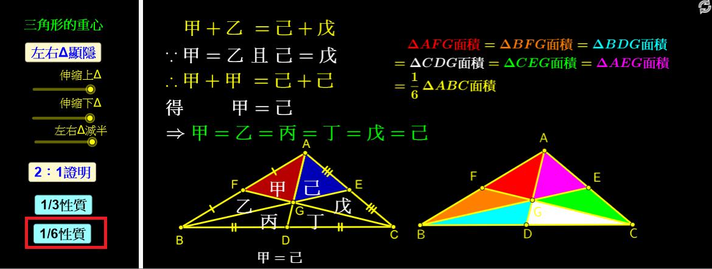點選「1/6性質」,說明面積六等分。